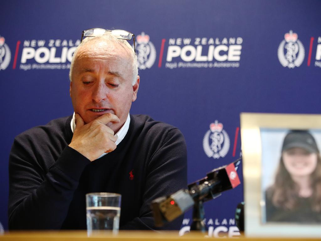Grace Millane's father David Millane reads a statement in Auckland, New Zealand. Picture: Getty