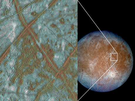 NASA image showing a close-up of the the icy surface Jupiter's moon Europa. Picture: NASA