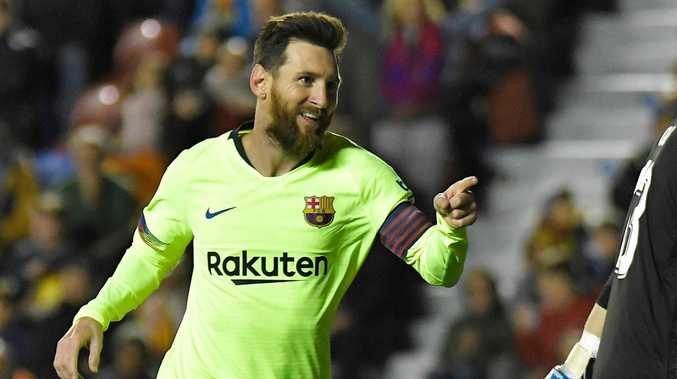 Lionel Messi has bagged a hat-trick and two assists in Barcelona's 5-0 thrashing of Levante.