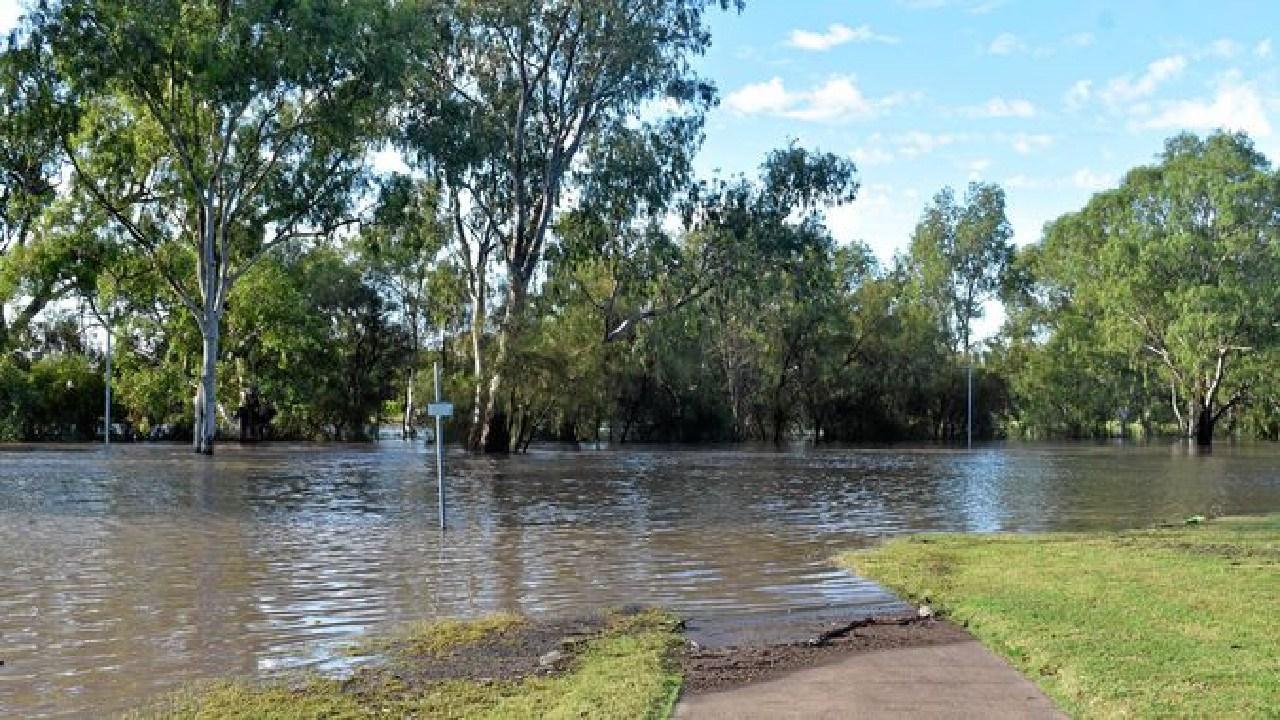 Floodwaters around the Edward Street weir in Dalby. Ebony Graveur