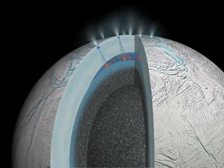 A rendering of Europa, showing the under-ice oceans and the geysers that regularly erupt from its surface. Picture: NASA