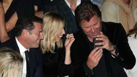 Karl Stefanovic and Jasmine Yarbrough with Richard Wilkins at a fashion show. Picture: Jonathan Ng