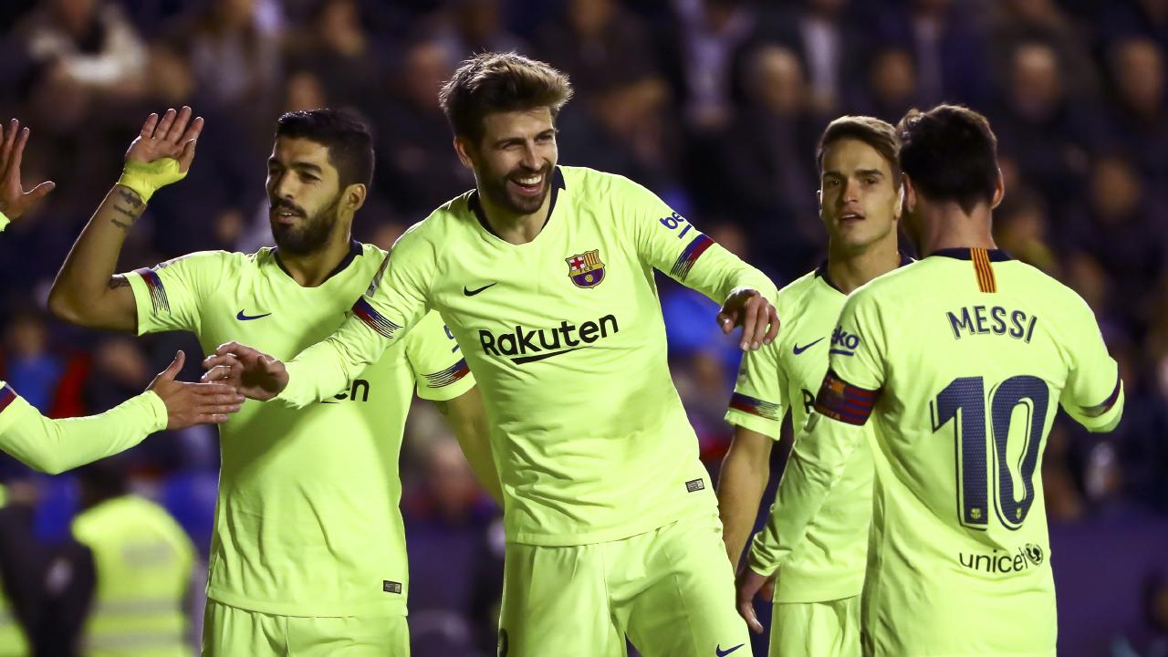 Gerard Pique netted Barca fifth and final goal.