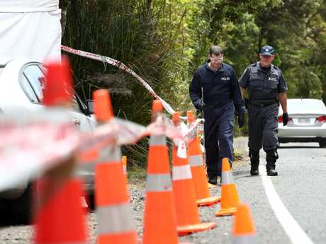 Police search the area where Grace Millane's body was found on December 10. Picture: Getty