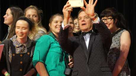 Stefan Dennis poses for a selfie with fans on the 2015 Logie Awards red carpet.