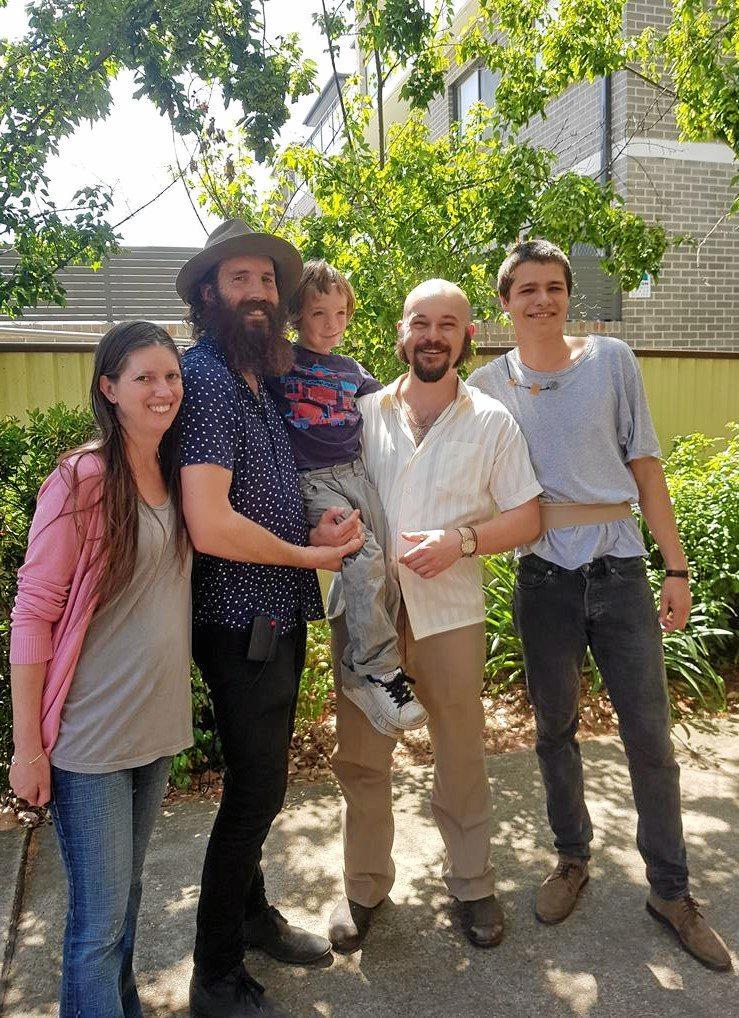 Acute Misfortune actors Linda (Eddy's screen mum), Tom Wright (director), Eddy, Dan Henshall (Adam Cullen) and Toby Wallace ( Erik Jensen).