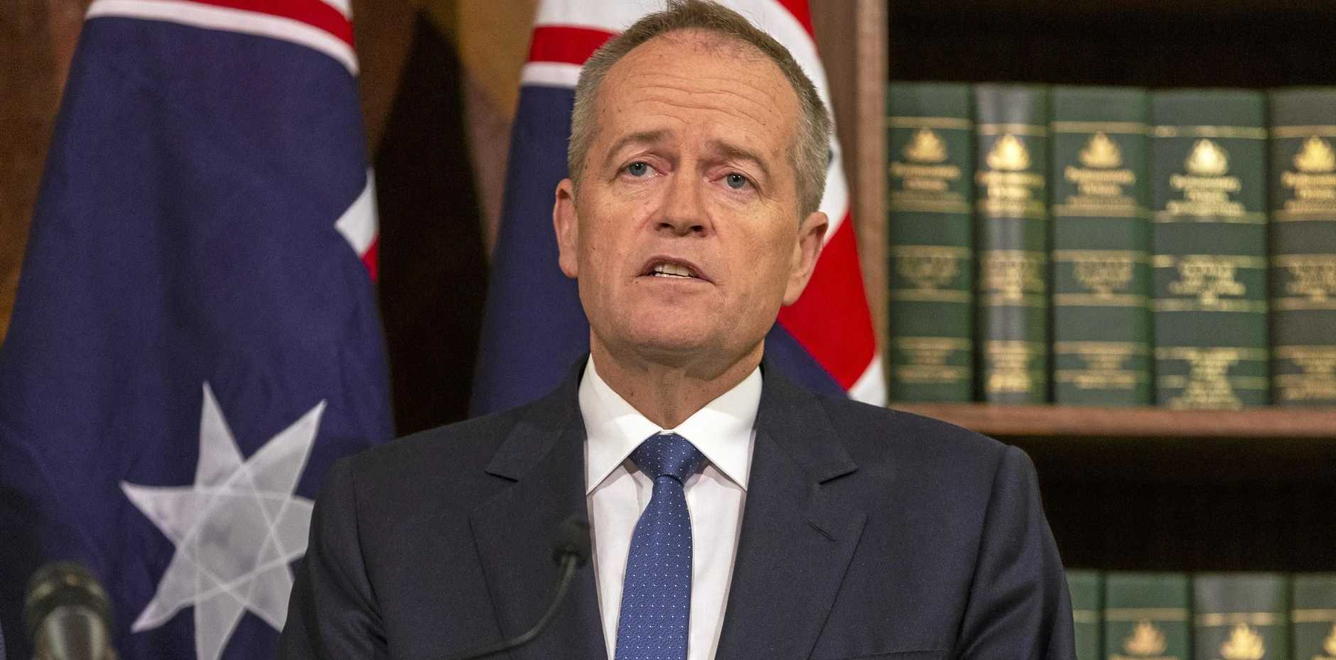 Opposition leader Bill Shorten speaks to the media during a Labor Party press conference in Melbourne.