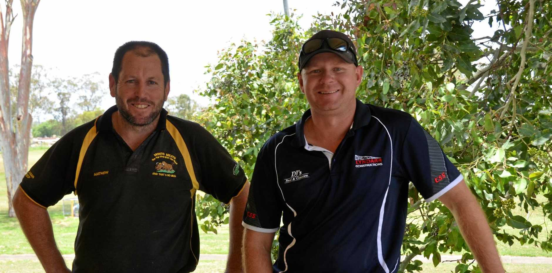 GAME ON: Monto Roos Coach Mat Dahtler and club president Damien Zieth have planned for a successful 2019 integrating the Roos back into the Central Burnett Rugby League competition.