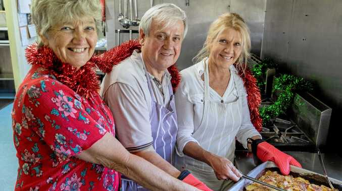 SELFLESS HELPERS: Mieke Bell with volunteers Ian and Jacky at The Winsome & Lismore Soup Kitchen.