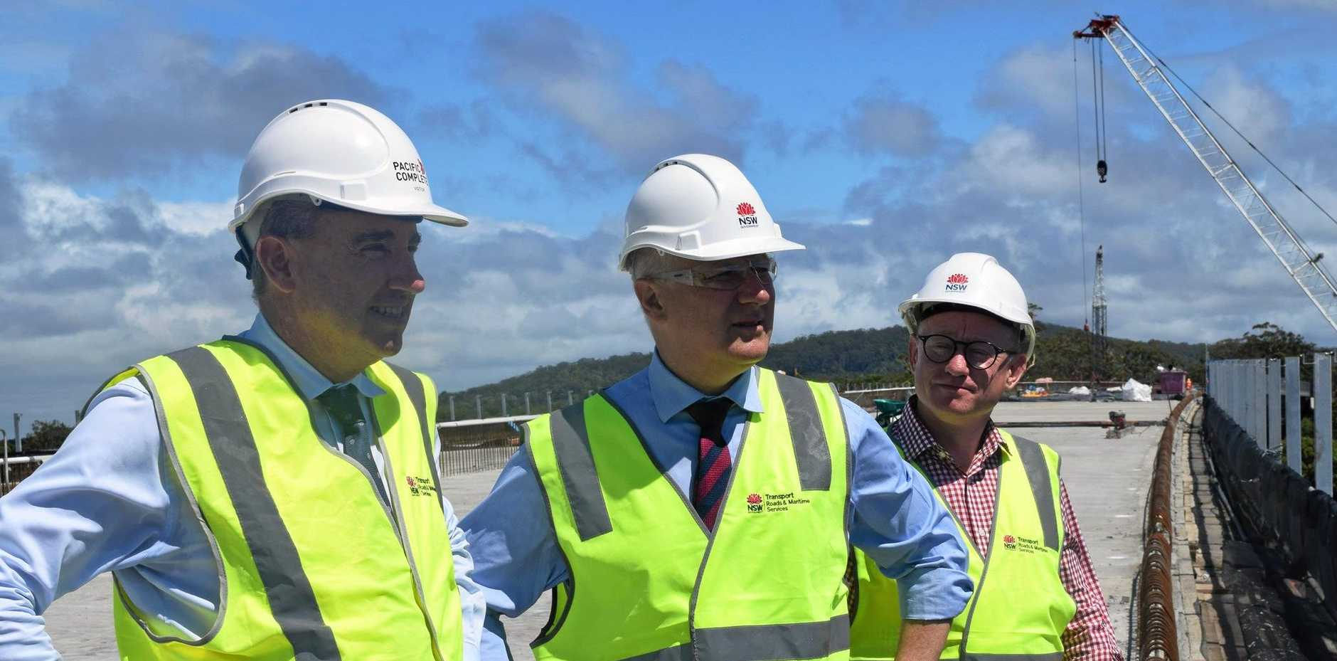 Federal Member for Page Keven Hogan was joined by Acting Prime Minister Michael McCormack and NSW Nationals candidate for Ballina Ben Franklin to mark the milestone of the last girder being placed on the new Richmond River Bridge at Broadwater.
