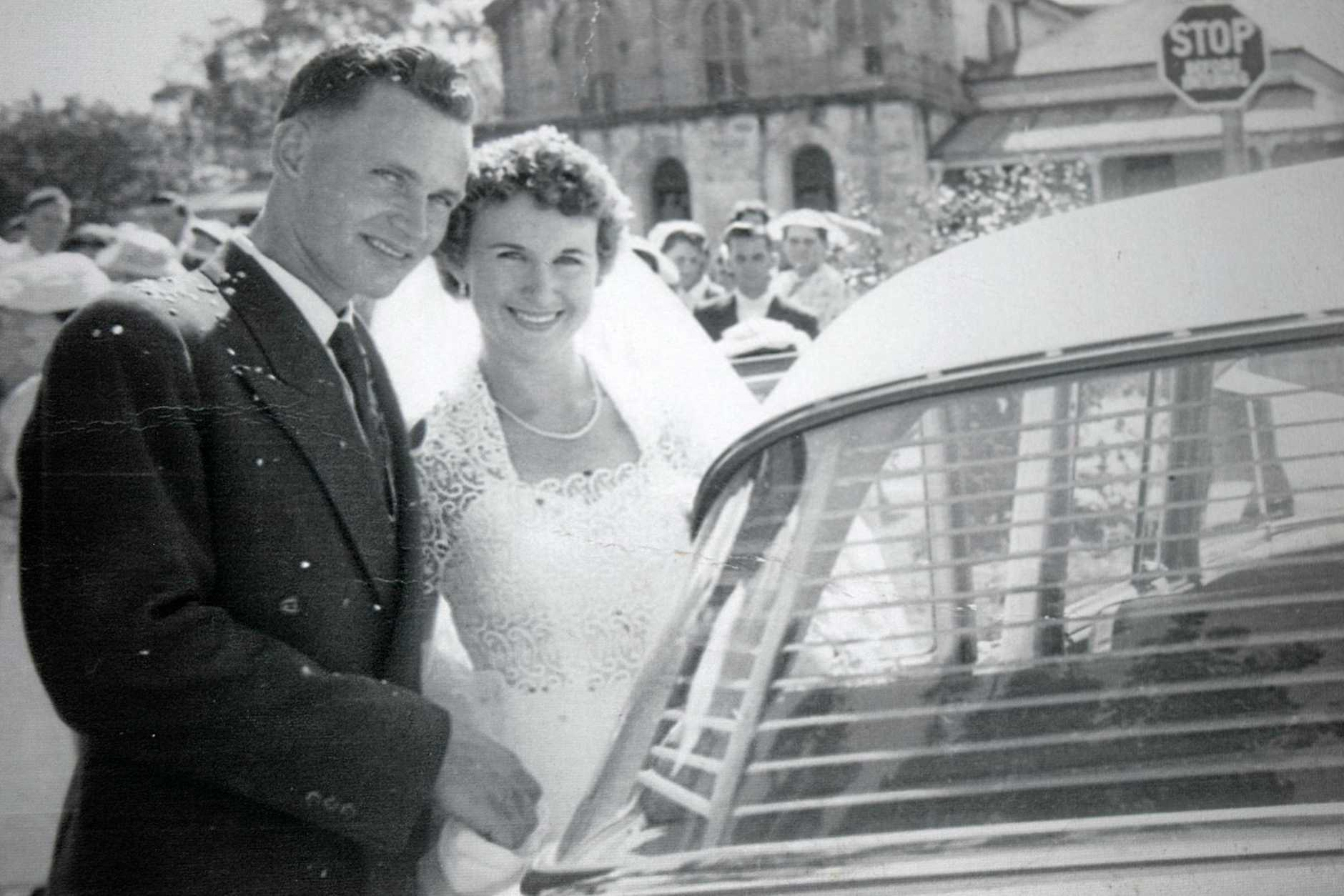 Glen and Joan Verrall on their wedding day in 1958.