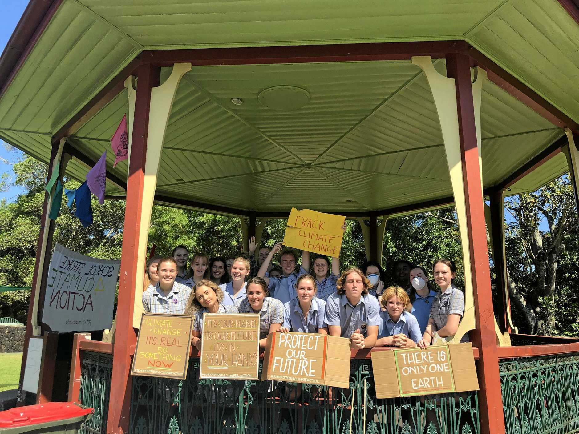 STUDENT STRIKE: Students from Trinity Catholic College aged gathered at Spinks Park for the nationwide School Strike for Climate Action.