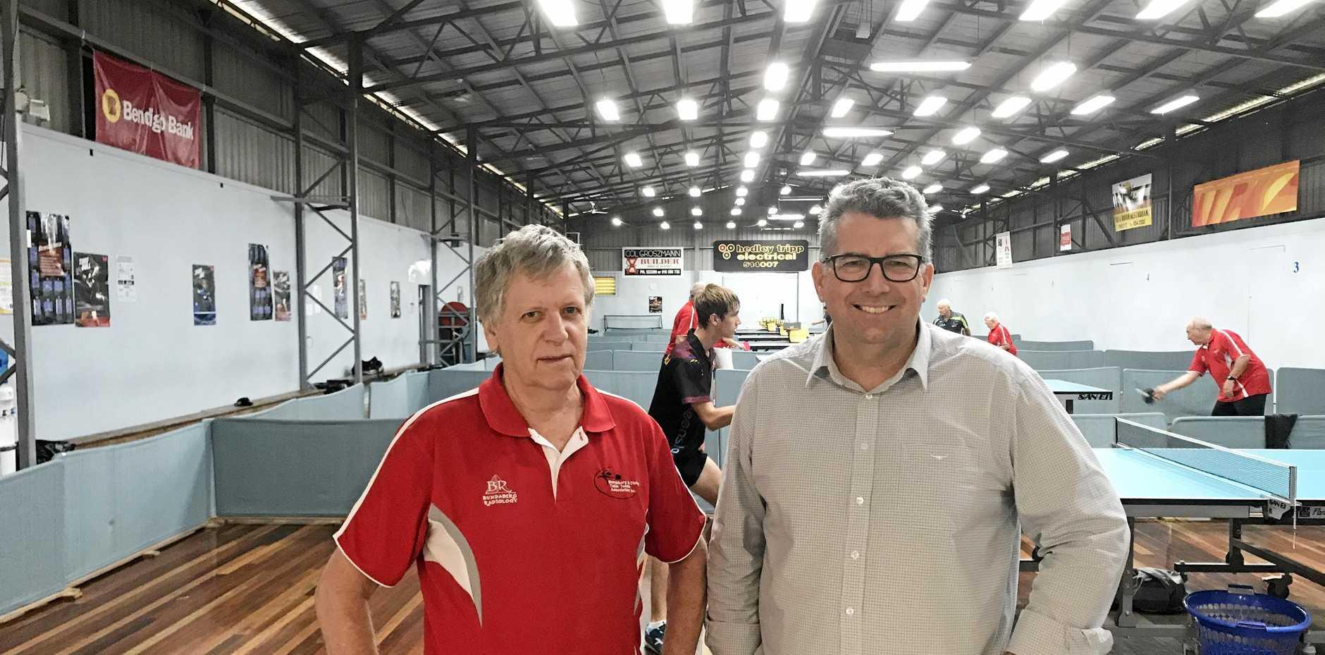 TALKING TENNIS: Bundaberg Table Tennis Association's Dave Delpratt with Member for Hinkler Keith Pitt.