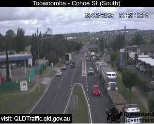 Traffic is congested on the Warrego Highway eastbound lanes down the Toowoomba Range.
