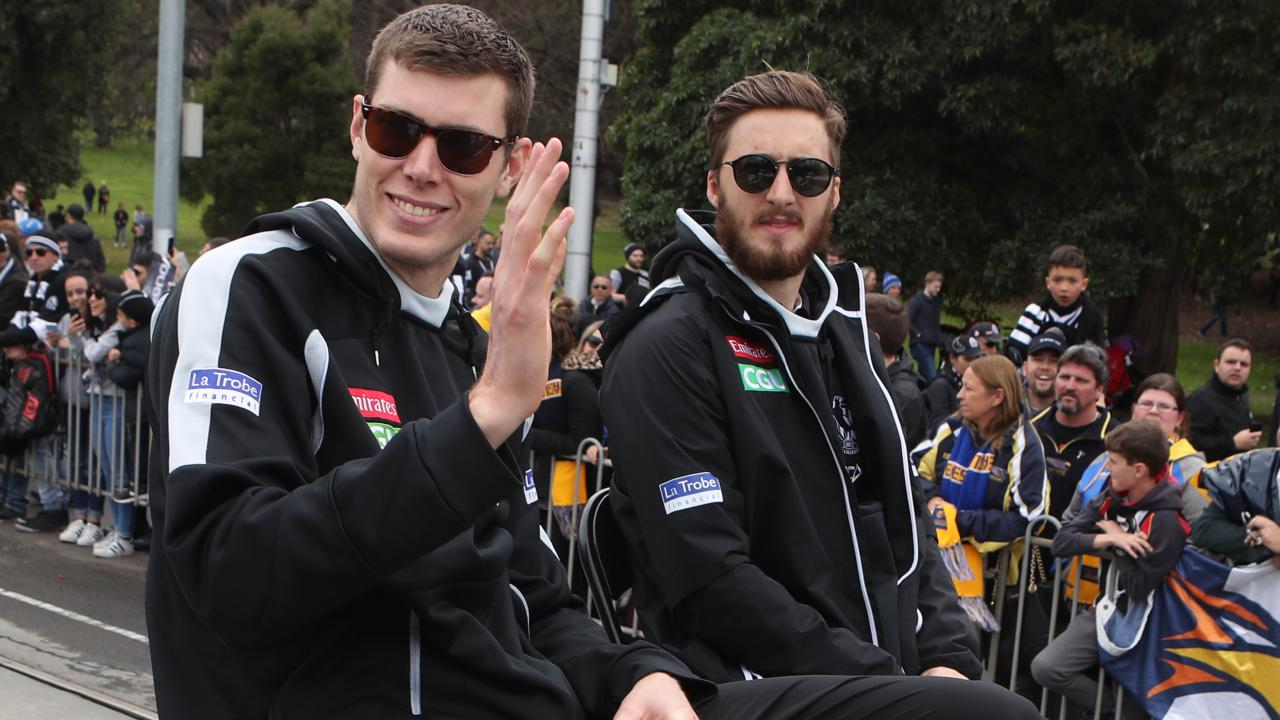 Mason Cox with Tom Phillips at the AFL Grand Final parade. Picture: AAP Images