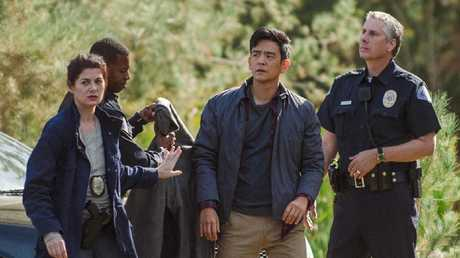 Debra Messing and John Cho in a scene from Searching.