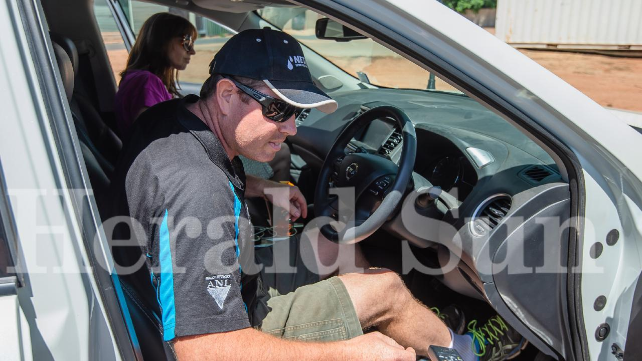 Mr Broad gets into a car in Mildura today. Picture: Jason Edwards