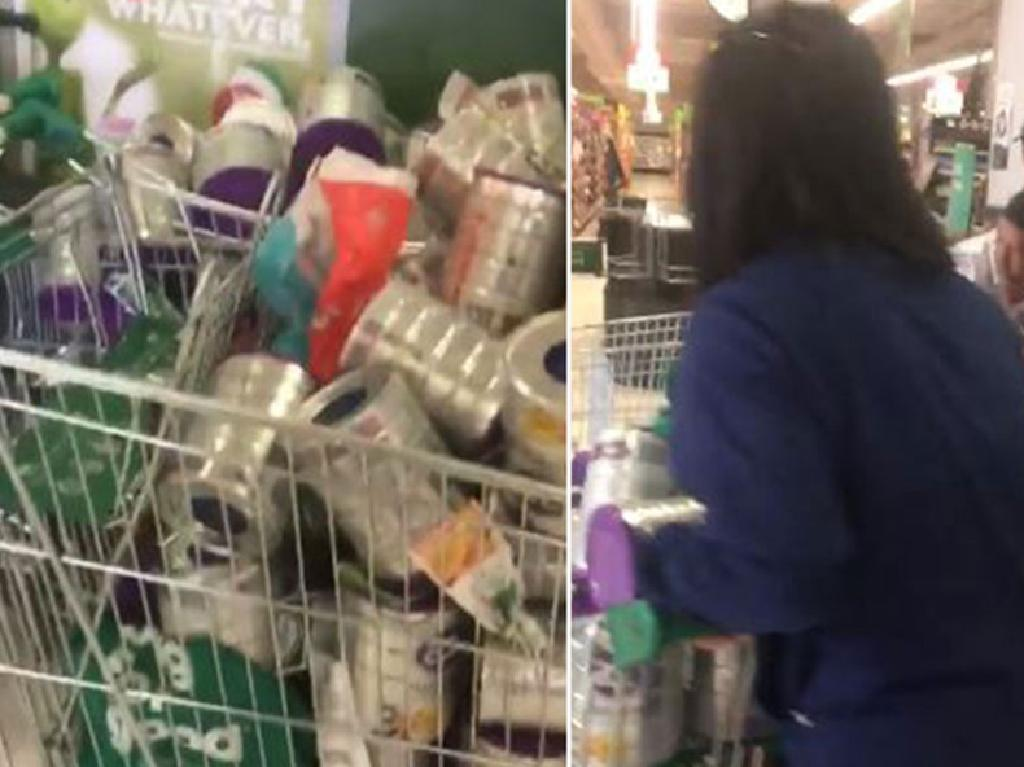 Chantel Malthouse uploaded this video to Facebook of what she claims to be Woolworths shoppers well going over the two-tin baby formula limit.