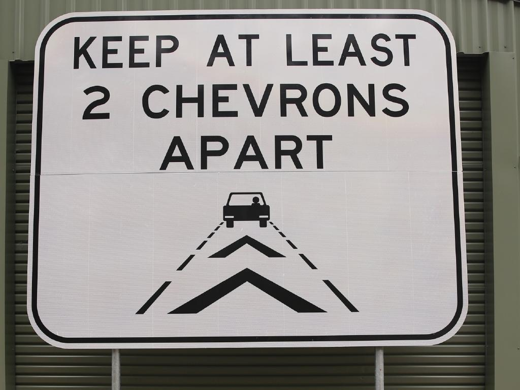 The new Safe Gap Road Signs that will accompany the new road markings. Picture: Peter Lorimer