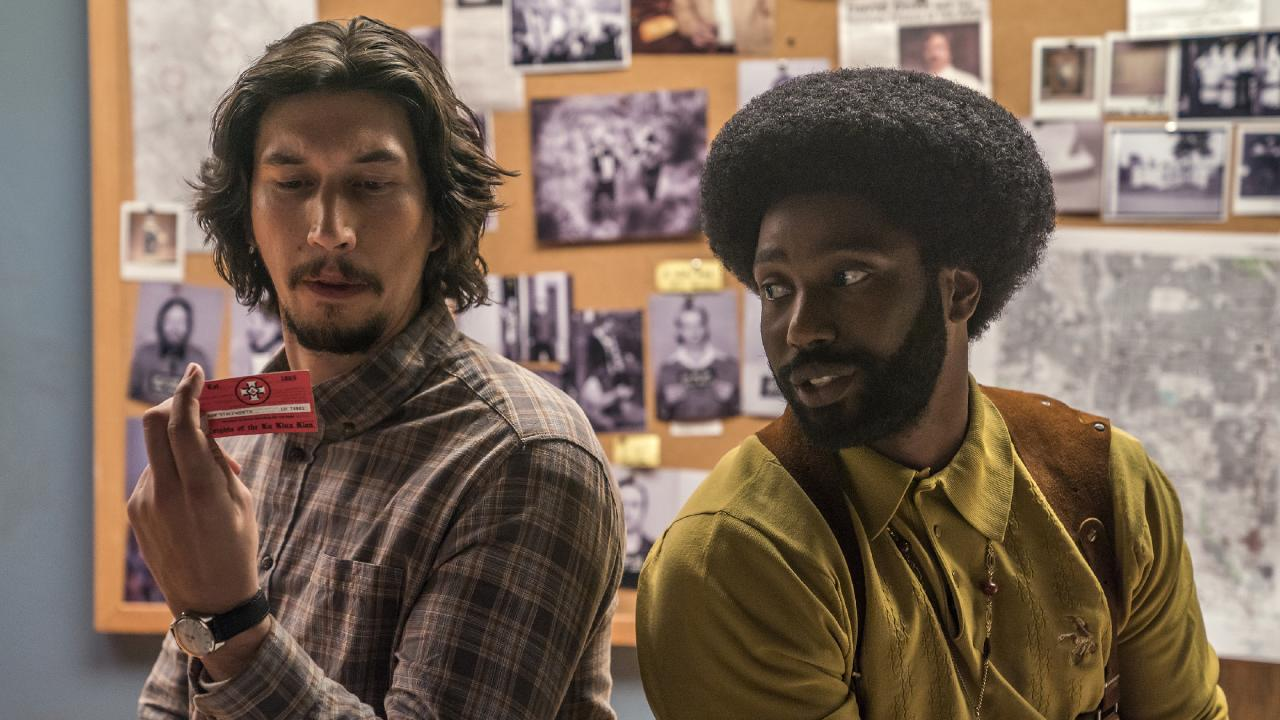 Adam Driver and John David Washington in a scene from BlacKkKlansman.
