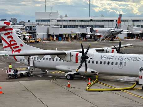 Virgin Australia is under investigation from the Australian Transport Safety Burea after an engine fire on a turboprop plane during landing. Picture: Supplied