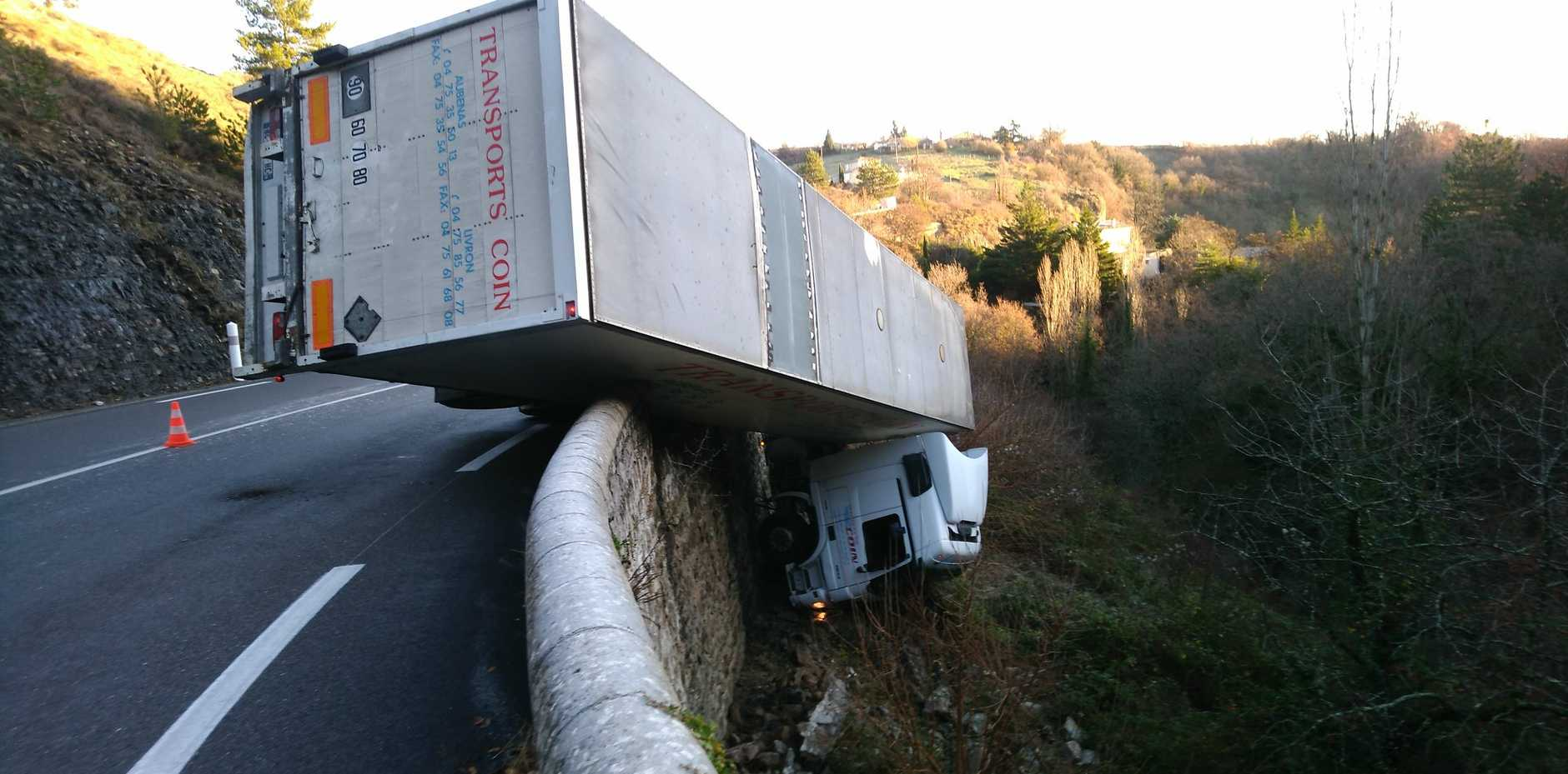 The driver was lucky to escape after his truck crashed off the hillside. PHOTO: Gendarmerie de l'Ardèche