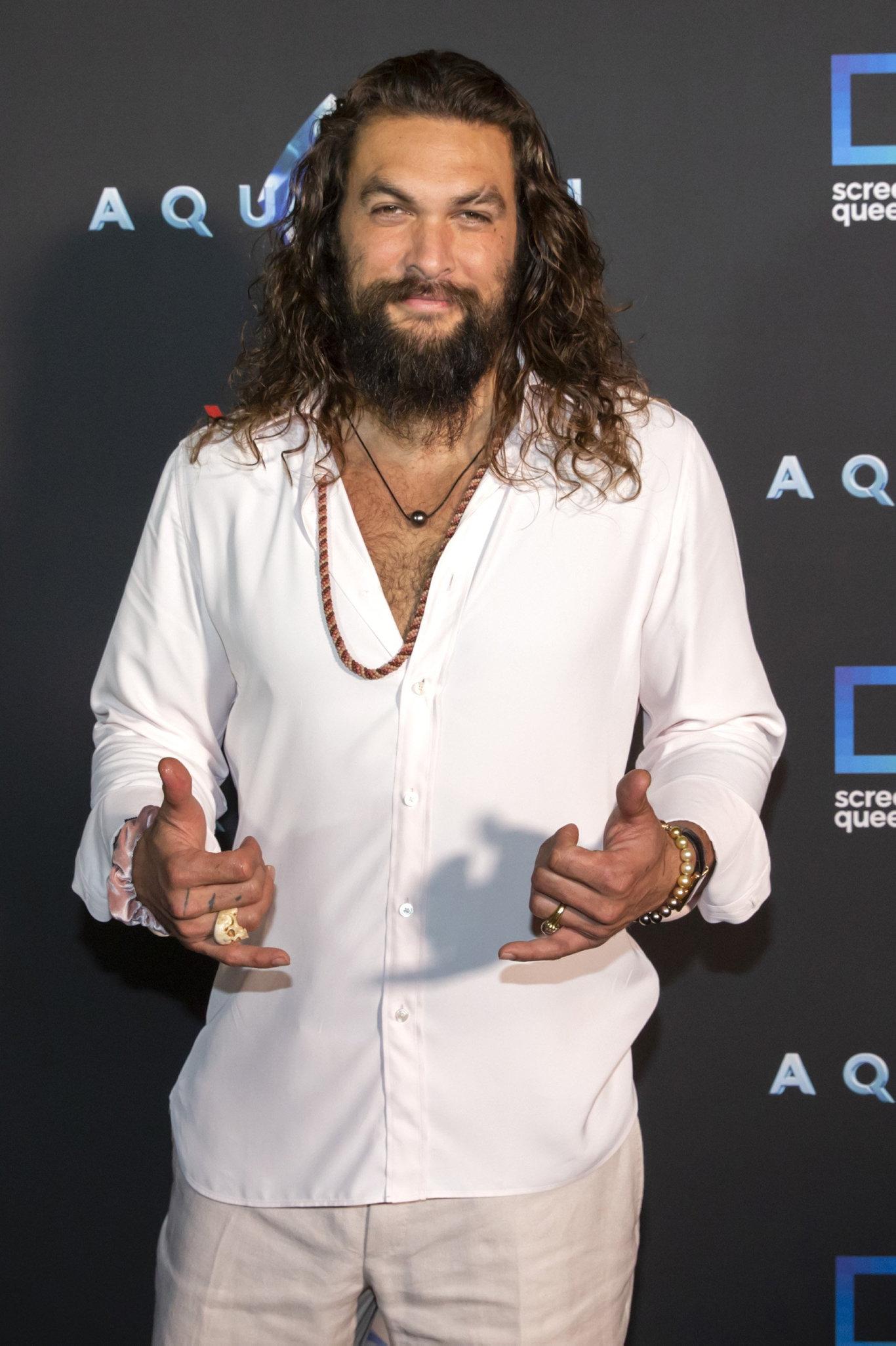 Jason Momoa at the Australian premiere of the movie Aquaman at Robina on the Gold Coast.