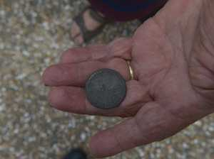Stan Sellick and Flo Munster with a 155 year old coin