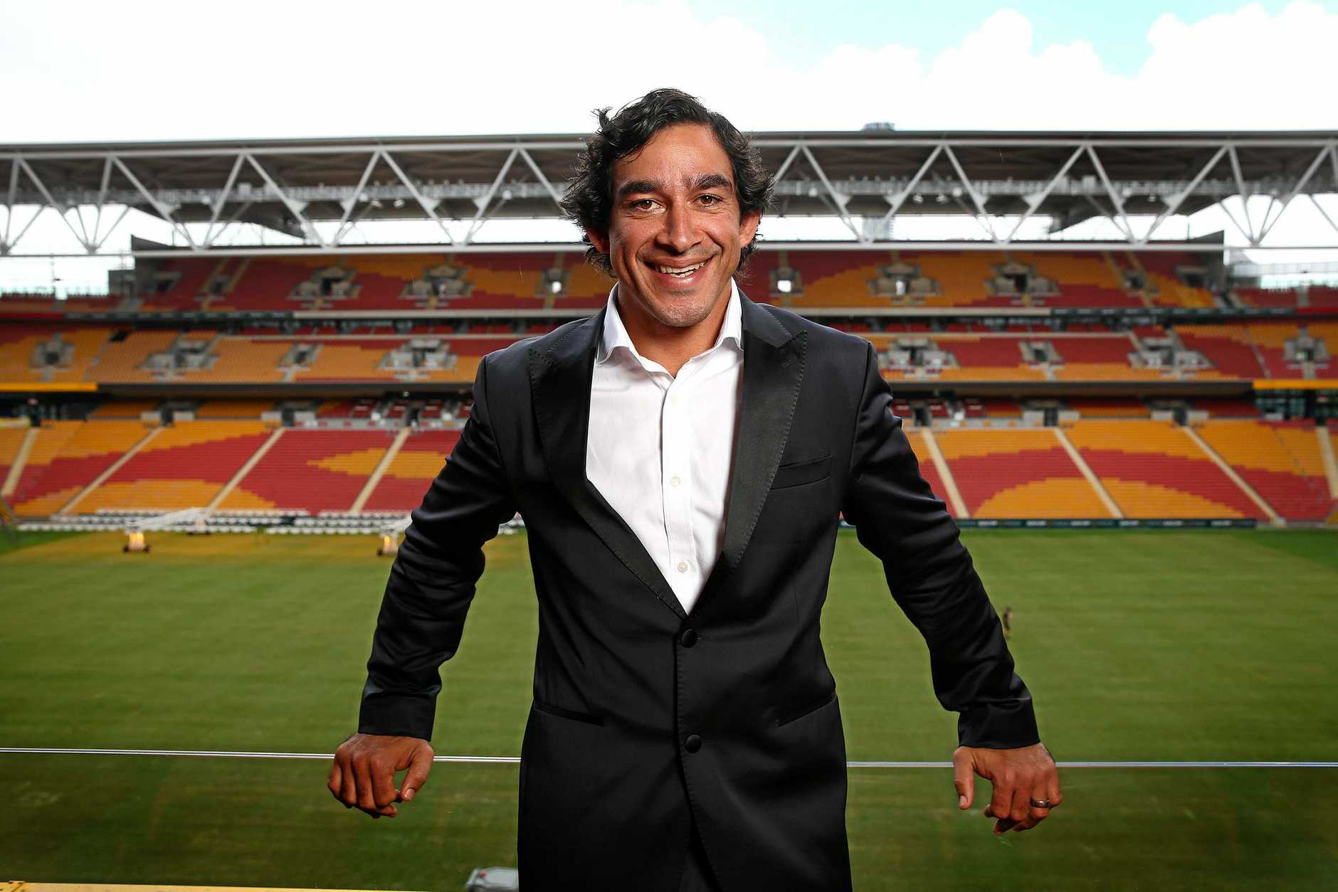 Johnathan Thurston launching his autobiography at Suncorp Stadium.