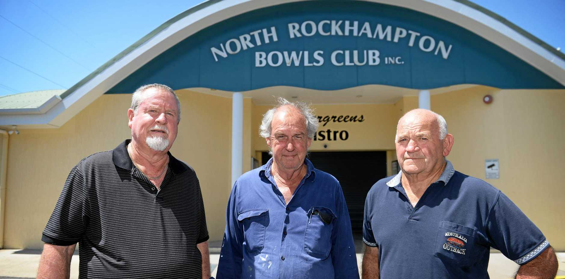 North Rockhampton Bowls Club's Allan Gabel, John Shepard and George Ingham.