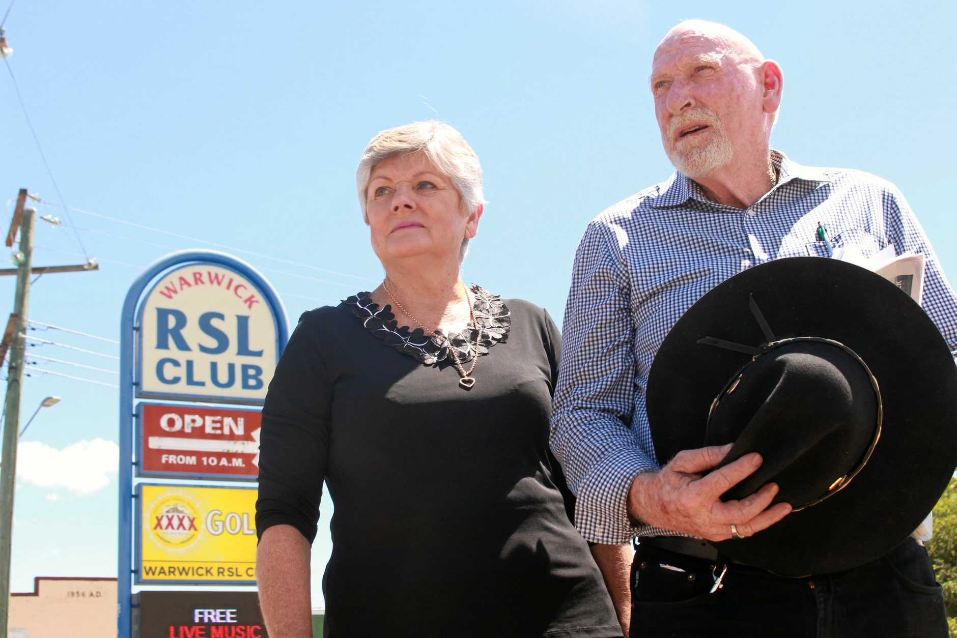 Former Warwick RSL Memorial Club committee members Lorraine Dent and Greg Linnett would be devastated to see their beloved club close.