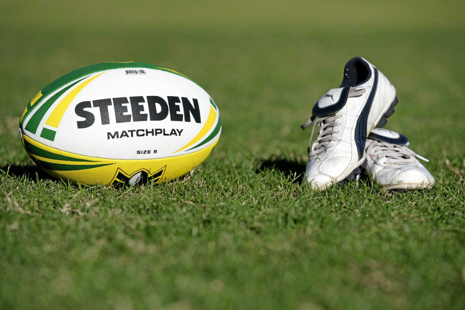Generic rugby league NRL Steeden ball and football boots. Picture: Isabella Lettini