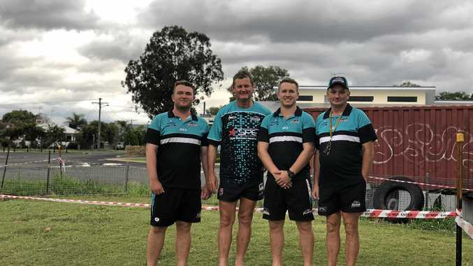 WELCOME SUPPORT: The Biloela Panthers Club will use CS Energy's grant for new shade cloth. Pictured are Josh Stevens, president Pat Barron, vice president Karl Stevens and Graham Flenady.