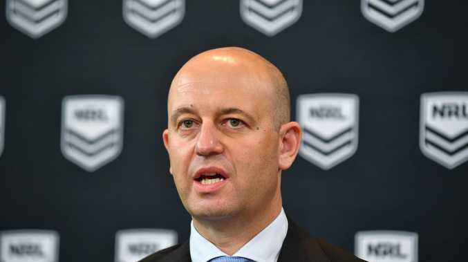 NRL CEO Todd Greenberg addresses the media during a press conference conference in Sydney, Wednesday, December 19, 2018. The NRL Integrity Unit has found evidence that supports the preliminary finding that Sharks coach Shane Flanagan continued to have dealings with the club while he was suspended in 2014. (AAP Image/Brendan Esposito) NO ARCHIVING