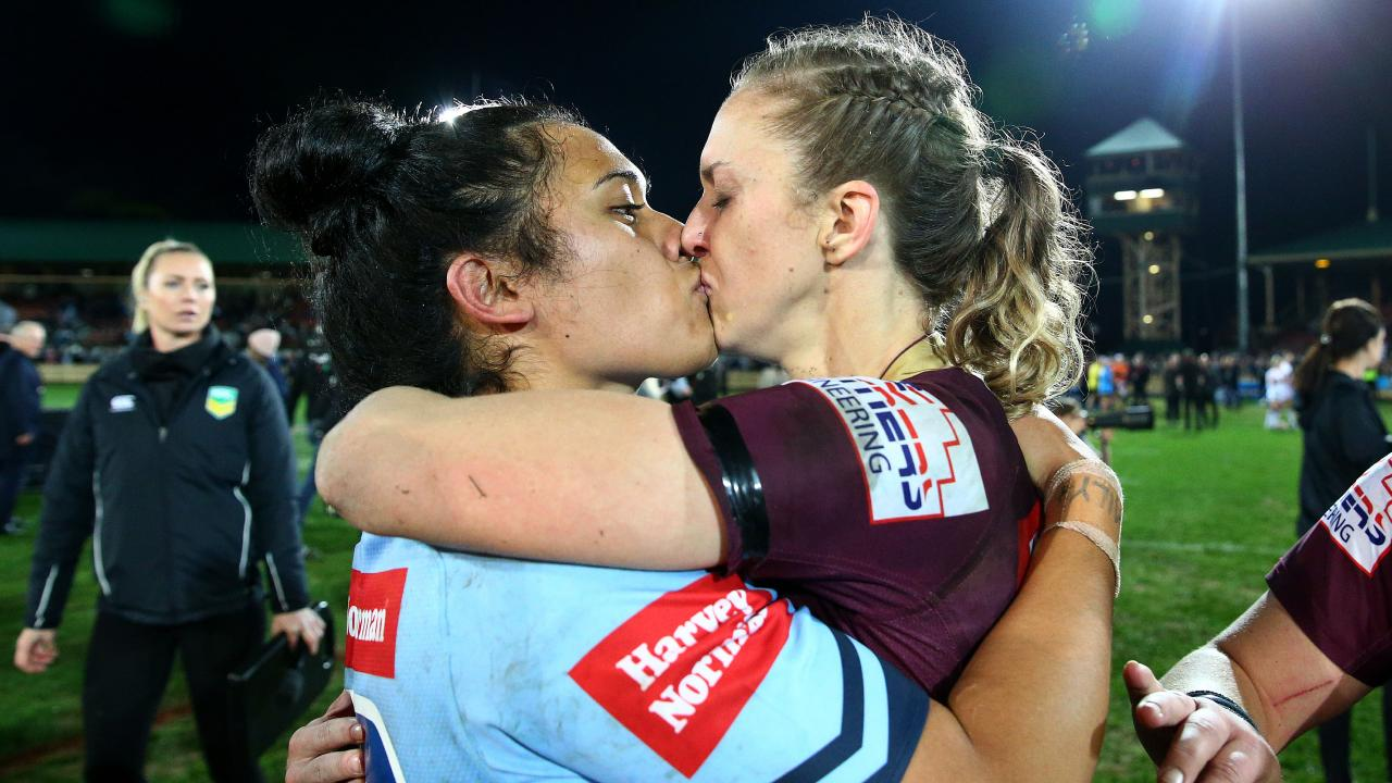 Vanessa Foliaki and Karina Brown embrace and kiss after the match. Picture: Adam Head