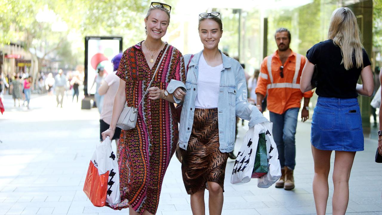 Sophie Doull 23 and Natalie Doull 19, shopping for Christmas. PICTURE: TIM HUNTER