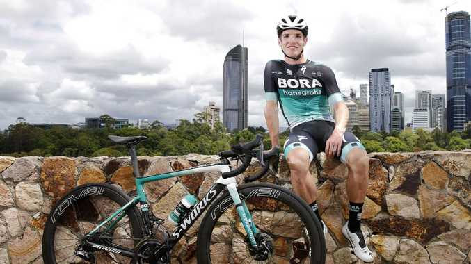 Jay McCarthy at the Kangaroo Point cliffs promoting the Brisbane Cycling Festival. Picture: AAP Image/Josh Woning