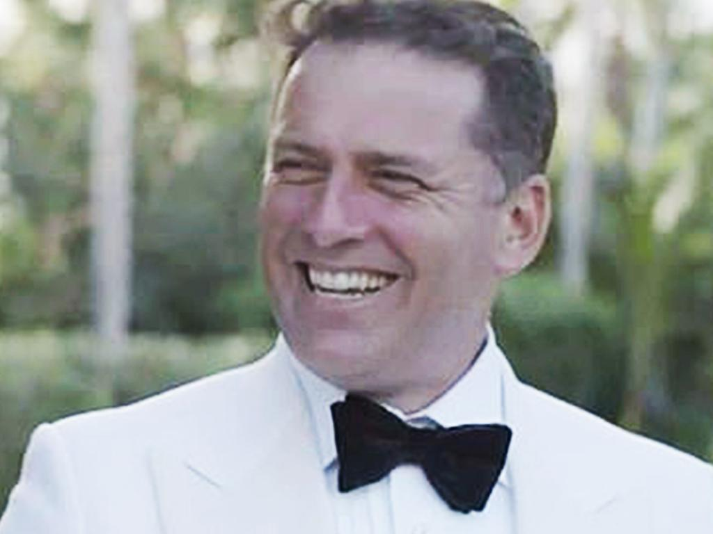 Karl Stefanovic and Jasmine Yarbrough's wedding — from clip played on the Today show. Picture: Channel 9