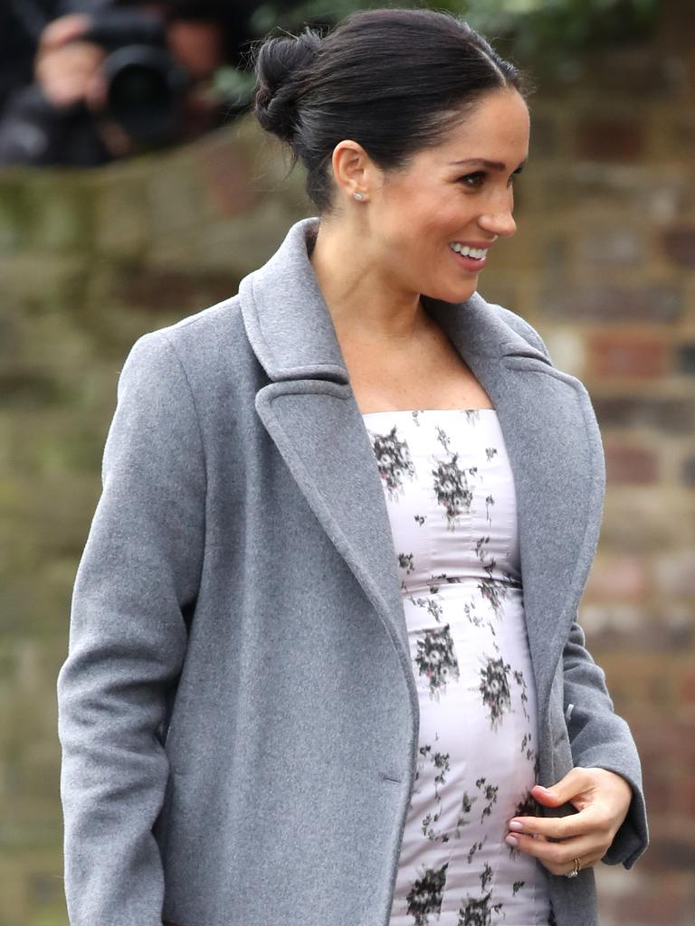 Meghan's growing bump ramped up theories that the Duchess' baby is due earlier than April. Getty Images