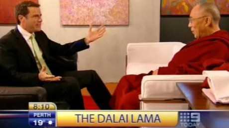 When Karl interviewed the Dalai Lama his pizza joke fell flat, really flat. Picture: Nine