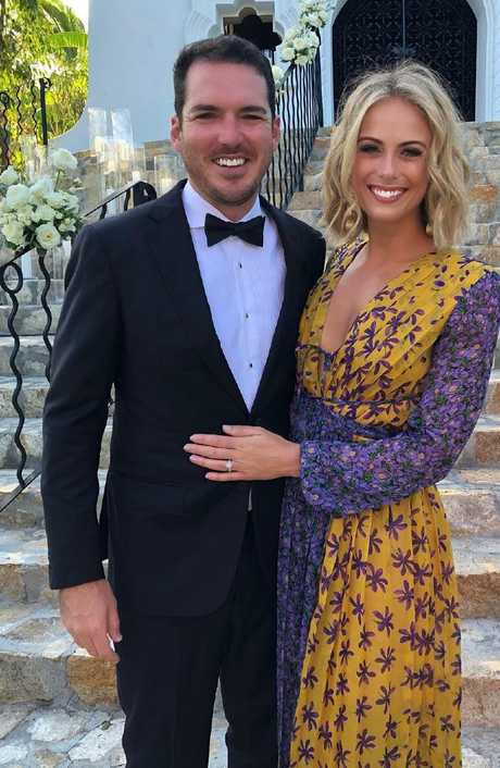 Sylvia Jeffreys and Peter Stefanovic at Karl Stefanovic and Jasmine Yarbrough's wedding in Cabo, Mexico. Picture: Sylvia Jeffreys/Instagram
