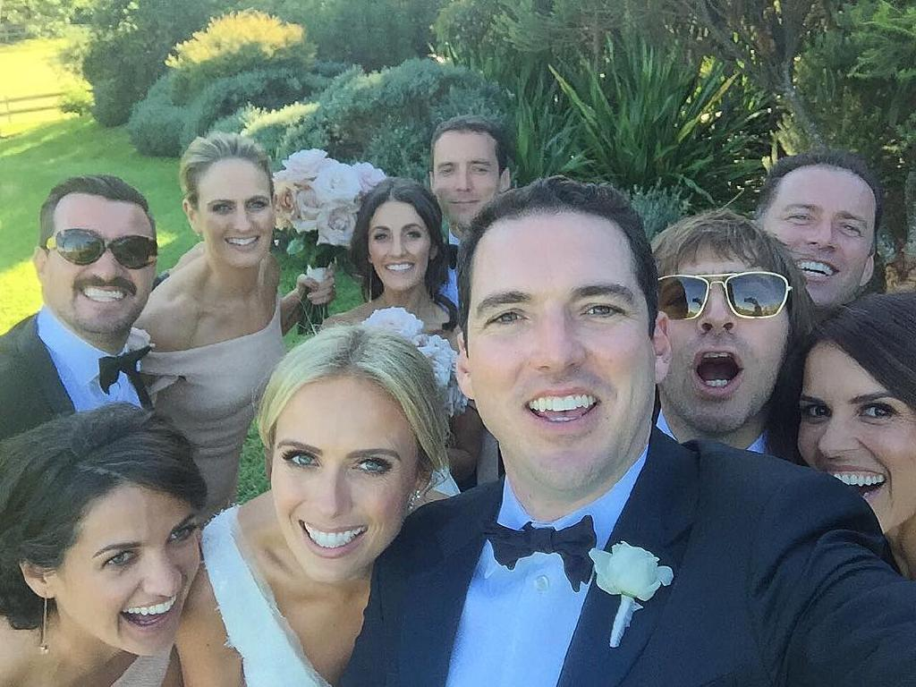 Peter Stefanovic and Sylvia Jeffreys with their wedding guests. Picture: Instagram