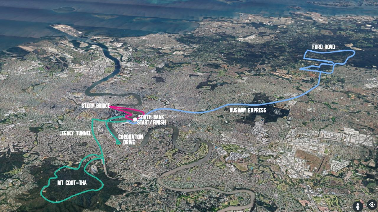 The 8km, 45km and 110km Tour de Brisbane course routes.