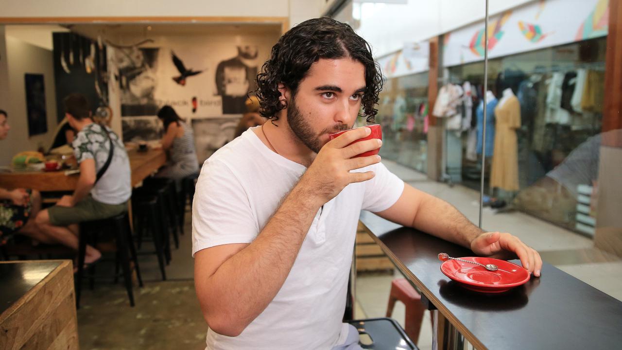 James Milaras at Blackbird Espresso inside Oceana Walk Arcade. PICTURE: JUSTIN BRIERTY