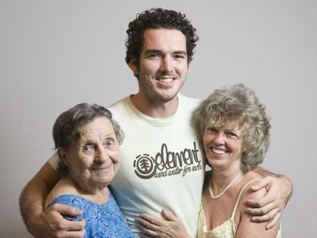 Peter Stefanovic saying goodbye to his family before going to LA to be the US correspondent for Channel 9. Peter with his mother Jenny Stefanovic and grandmother Glady Cain. Picture: News Corp Australia