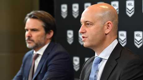 NRL CEO Todd Greenberg (right) and COO Nick Weeks address the media.