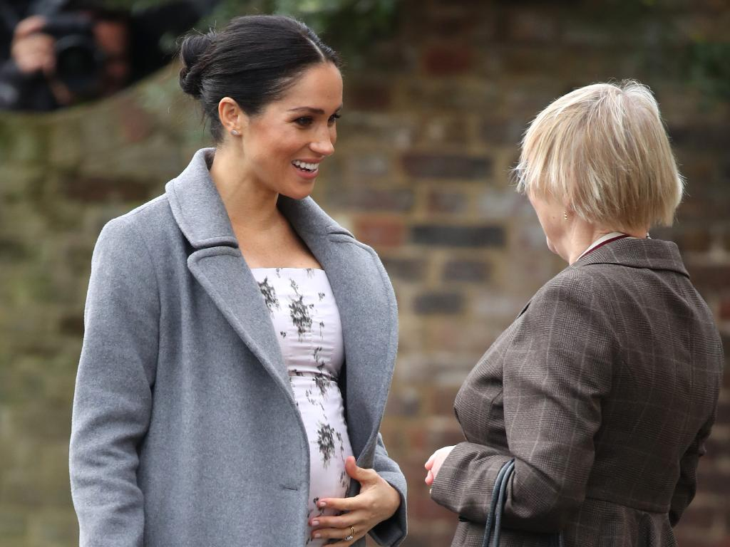 Meghan showed off her substantial bump. Picture: Getty Images