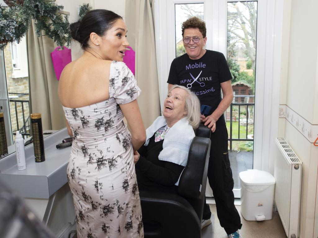 Meghan visited the home's beauty salon. Picture: Getty Images