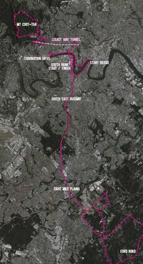 Tour de Brisbane course map.