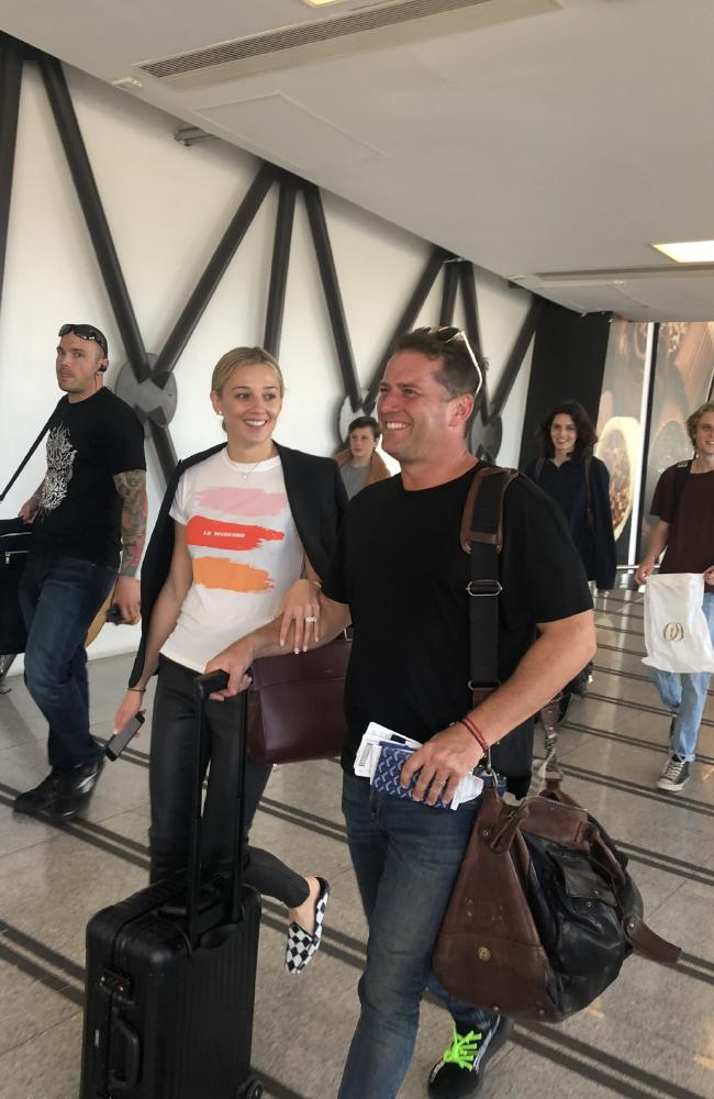Karl Stefanovic and Jasmine Yarbrough depart Mexico after their wedding. Picture: Jonathon Moran